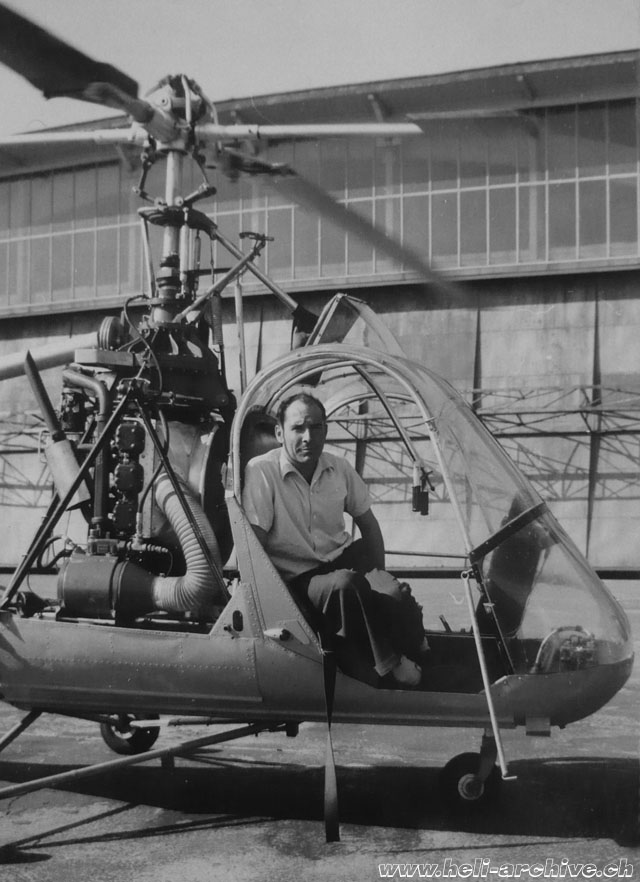Sepp Bauer at the controls of a Hiller 360 in service with Air Import (HAB)
