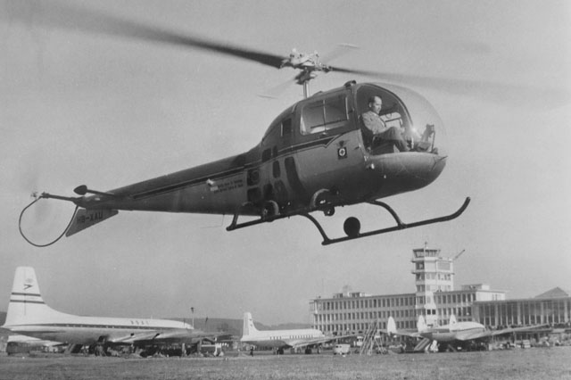 Zurich airport, March 1957 - Sepp Bauer at the controls of the brand new Bell 47J Ranger HB-XAU purchased by Swiss Life Saving Society (HAB)