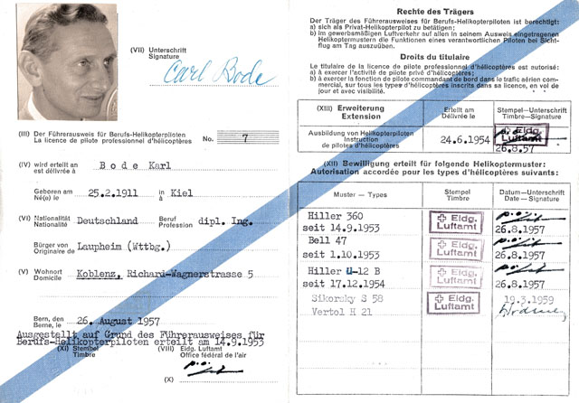 Carl Bode obtained the Swiss commercial helicopter pilot licence nr. 7 (SFA)