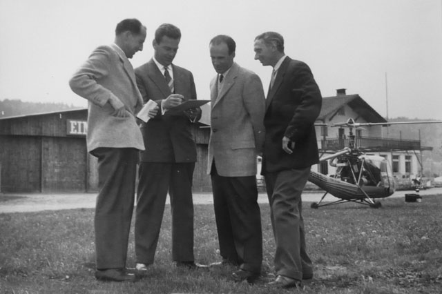 Spring 1954 - Carl Bode (on the right) along with the first pilots working for Air Import: Emil Müller, Albert Villard and Sepp Bauer