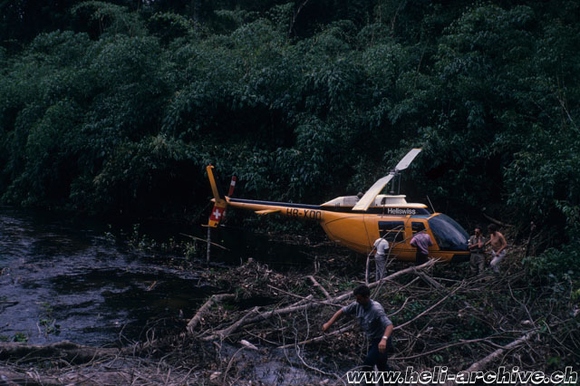 Suriname 1971 - Landing in the Amazon rain-forest with the Bell 206A Jet Ranger HB-XDD (archive J. B. Schmid)