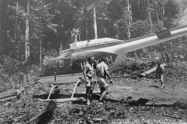 Suriname, November 1972 - Paul Schmid beside the Bell 206A Jet Ranger HB-XDH in service with Heliswiss (family Schmid)