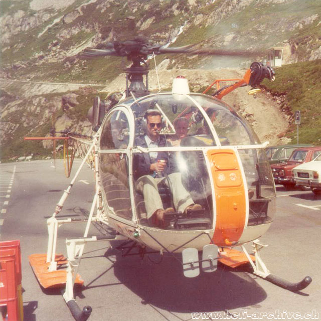 A nice image of Paul Schmid at the controls of the SA 315B Lama HB-XEN (family Schmid)