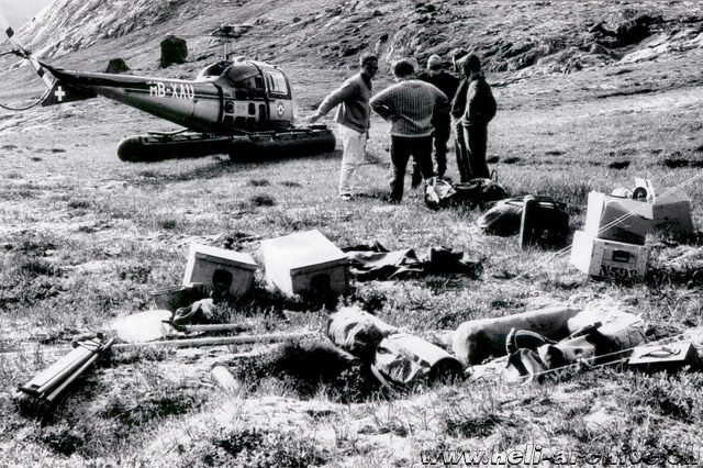 Greenland, summer 1968 - Jean-Pierre Füllemann (on the left) along with the Bell 47J Ranger HB-XAU used to supply a group of geologists working on behalf of GGU (archive P. Füllemann)