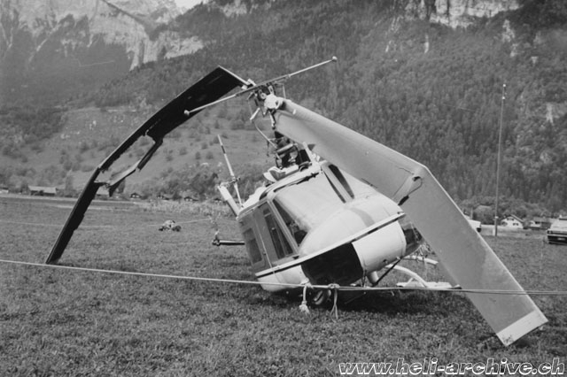 Domat-Ems/GR - The accident happened on October 26, 1976 to the helicopter Agusta-Bell 204B HB-XCQ was caused by an engine failure (HAB)