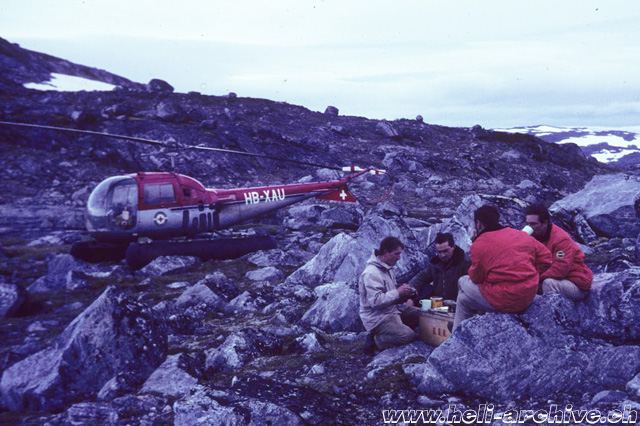 Greenland, summer 1967 - Adolf Litzler (the first on the left) along with work colleagues (archive A. Litzler)