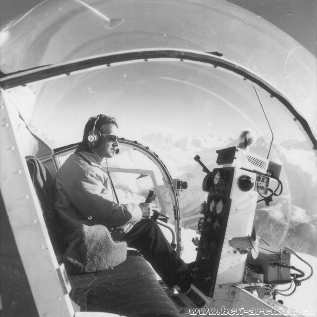 Adolf Litzler at the controls of the Bell 47 did the first transportation and SAR flights (archive A. Litzler)