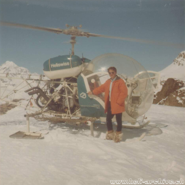 1971 - Mountain landing with the Bell 47G3B-1 HB-XBT in service with Heliswiss (archive A. Litzler)