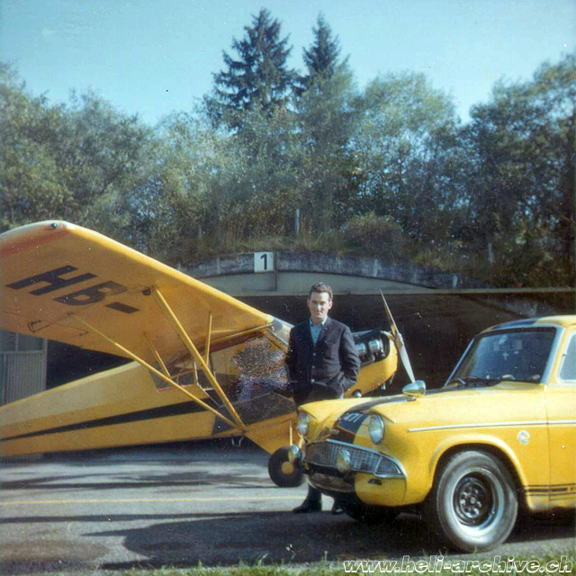 Reichenbach 1964-1965 - Paul Schmid photographed near the Piper J-3 HB-OHO (family Schmid)