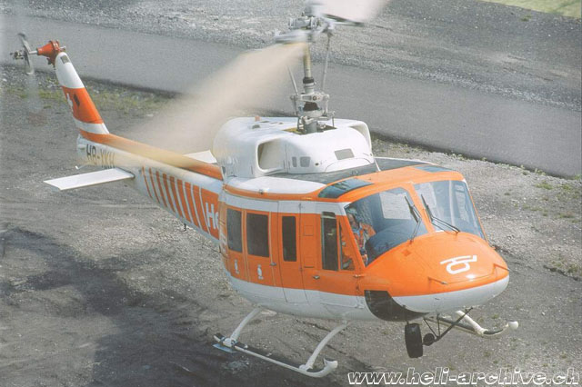JB Schmid at the controls of the Bell 214B-1 Big Lifter HB-XKH in service with Heliswiss (P. Aegerter)