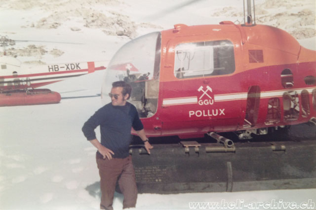 "Greenland, summer 1972 - Paul Schmid beside the Agusta-Bell 47J Ranger OY-HAV nicknamed ""Pollux"" (fam. Schmid)"