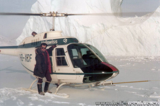 Greenland, autumn 1971 - Paul Schmid beside the Bell 206A Jet Ranger HB-XCF, one of the first purchased by Heliswiss (fam. Schmid)