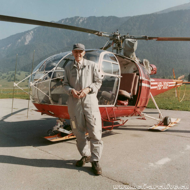A nice image of Werner Donau photographed shortly before his retirement along with the SE 3160 Alouette III HB-XDE belonging to FOCA (family Donau)