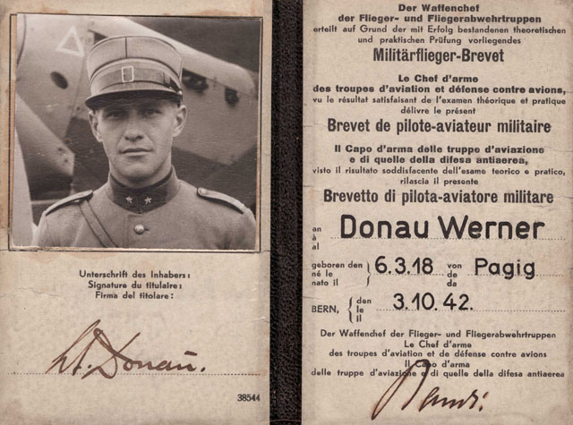 The licence as military pilot issued on October 3, 1942 to Werner Donau (family Donau)