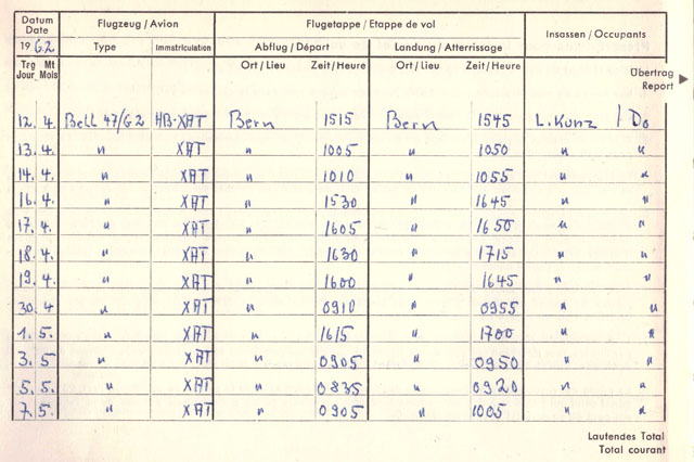 The log-book with the first helicopter flights recorded by Werner Donau (family Donau)
